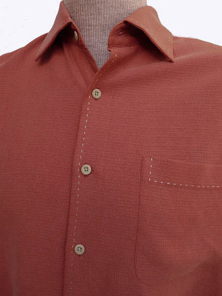 Nat Nast Shirt S Long sleeves Silk Cotton 17 Rust top stitching Button front