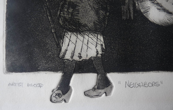SOLD Edward McCluney etching Neighbors Rare Artist Proof Original 1974  Signed
