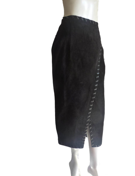 Neiman Marcus Black leather skirt Vintage Melanzona black Sz 10 NWT  Leather skirt Wrapt