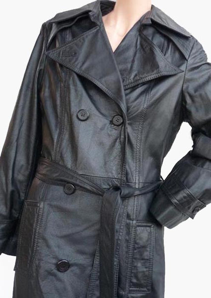 Nordstrom black leather coat Sz 14 Belted Long  Mid calf  1980s