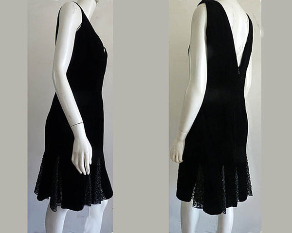 Oleg Cassini Black tie dress Sz 12 Velvet Beaded Lace gussets Sleeveless hour glass cocktail
