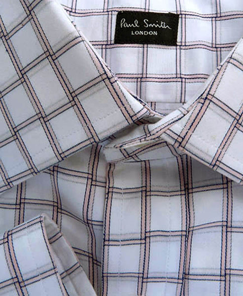 Paul Smith London Shirt Mens Dress Spread Collar Neck 17 Plaid Check Italy