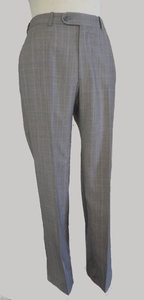 SOLD Peter Miillar suit Gray Plaid 2 button Size 40 Notched collar Flat front