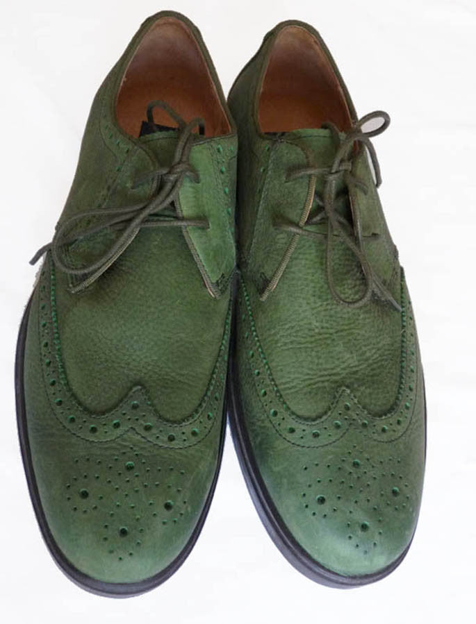Polo Ralph Lauren Oxford shoes Orrick Wing Tip 10 D Lace up Suede Muted Soft Green EUC
