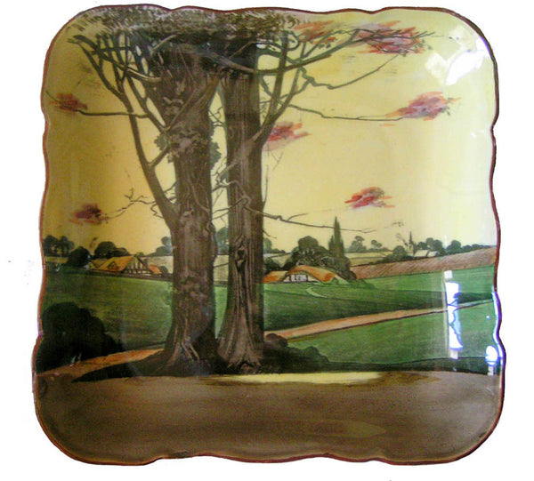 Royal Doulton Charger Woodland Series 4585 Square Lion Crown on Crown Cottages Trees Steeple