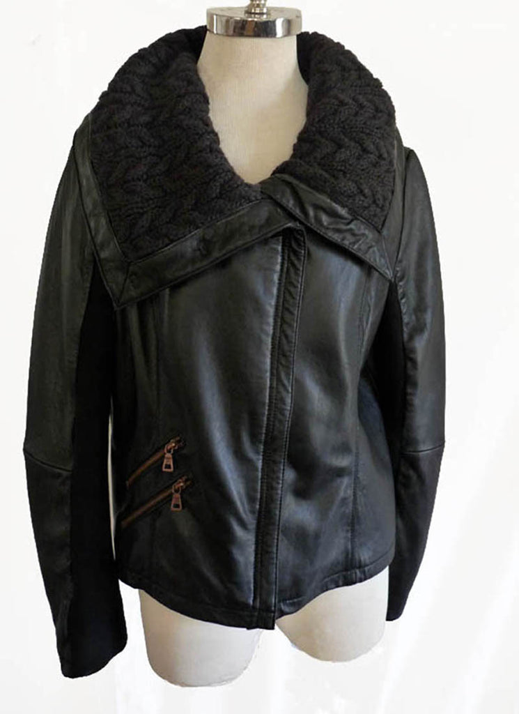 sam edelman leather jacket black L