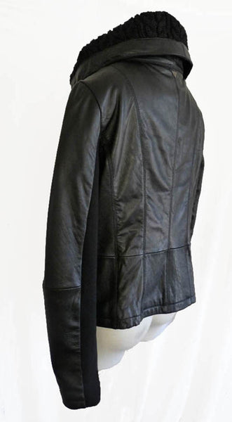 Sam Edelman Jacket leather Black L Big Knit spread collar Snaps Zipper front Moto