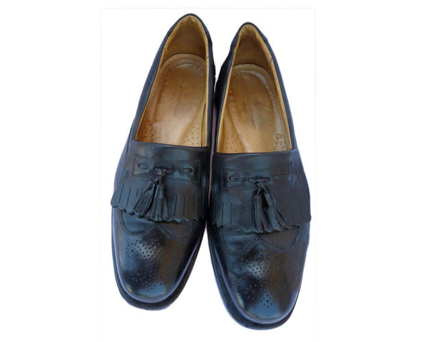 Sandro Moscoloni Vineyard black shoes 12 D Tassle Wing tip