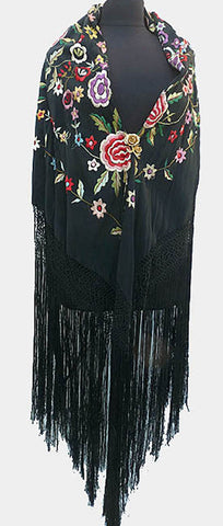 Embroidered Piano Floral shawl Vintage 72 x 72 inches
