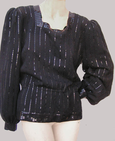 St John Marie Gray black Evening top Sz 10 Pallettes LS Vintage 1980s square neck