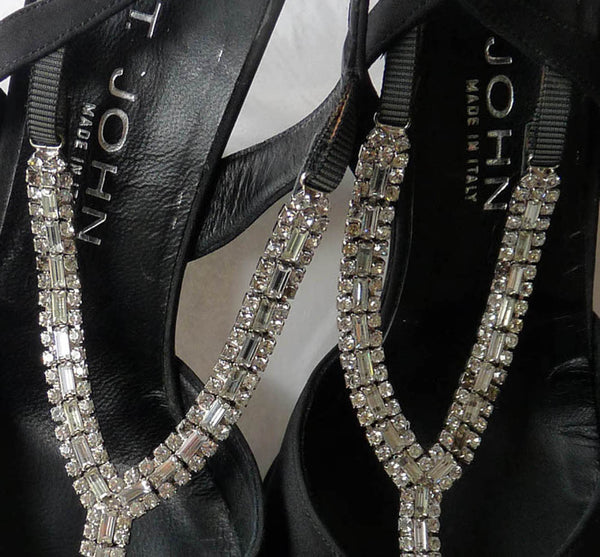 St John Shoes Heels Evening 9 B Crystal T strap & crystal Heels Open Special event