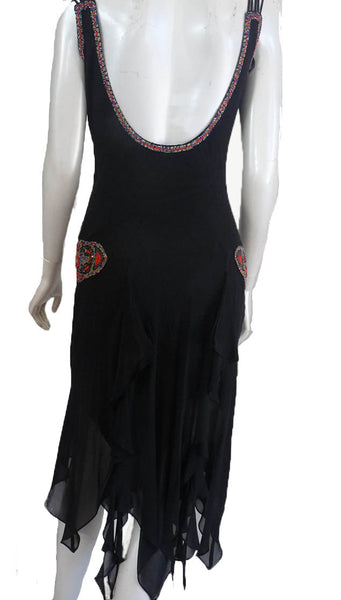 Sue Wong Beaded Black dress 1920s Inspired Asymmetrical hem SZ S Lavish red beading Straps