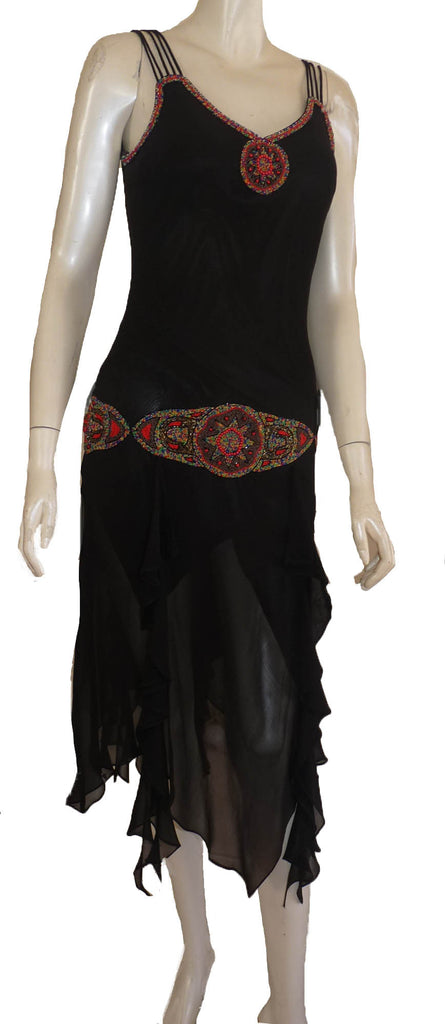 sue wong black dress red  beading 1920s inspired spaghetti straps