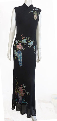 sue wong black gown asian inspired beaded fkoral