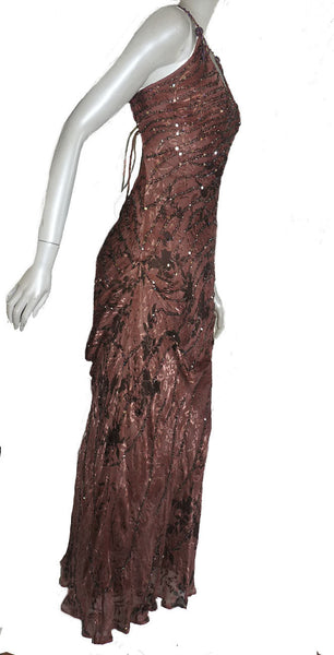 Sue Wong Nocturne gown Sz 10 Open back ties Silk Sequins Cocoa brown