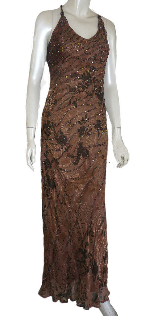 sue wong gown sz 10 open back silk cocoa brown