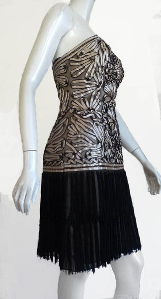 sue wong strapless ruched dress sz 4fringe skirt