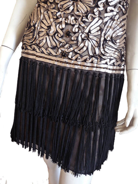 Sue Wong Strapless Dress Ruched Flapper Fringe bottom Drop waist Black Gold on net