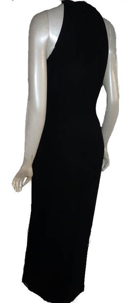 Sue Wong Studio Gown Black Beaded halter Bib Size S Sleeveless