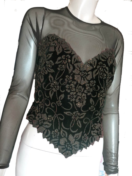 Tadashi Illusion Corset Bustier Top XS Black Blouse Glitter Long Sleeves