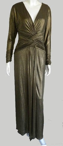 tadashi nwt bronze gold gown crossover topi