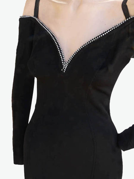 Sexy Tadashi dress 1980s Black Bodycon Wiggle SM Rhinestones Neck drop Bare Shoulder