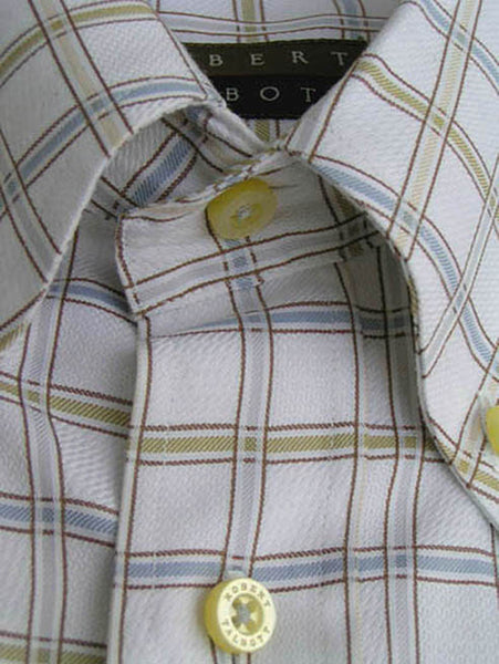 Robert Talbott shirt LS White Blue Gold Olive taupe 17 Point collar button down