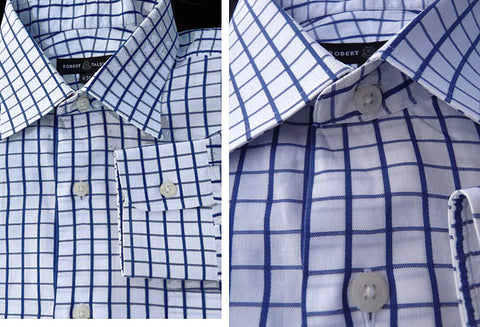 Robert Talbott shirt LS White Black blue Check 17 Button down collar