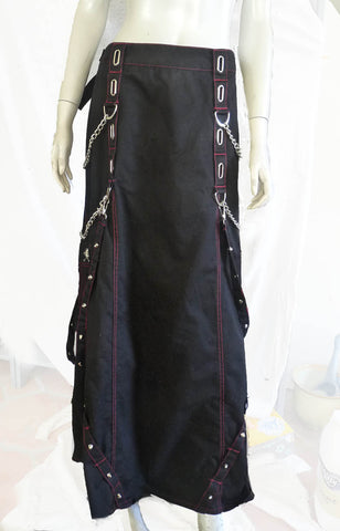 tripps black maxi skirt 1x chains skull
