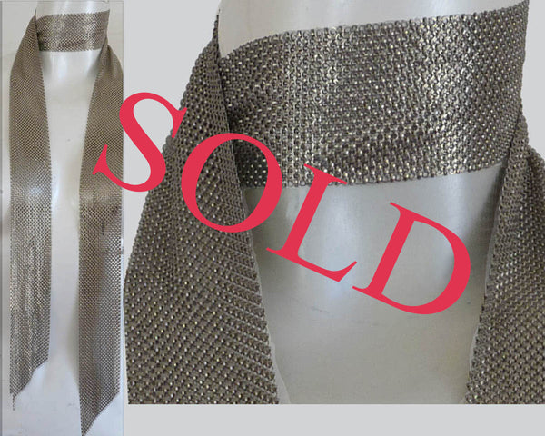 Chain maile Mesh Scarf Belt Silver 2 inches width 60 length
