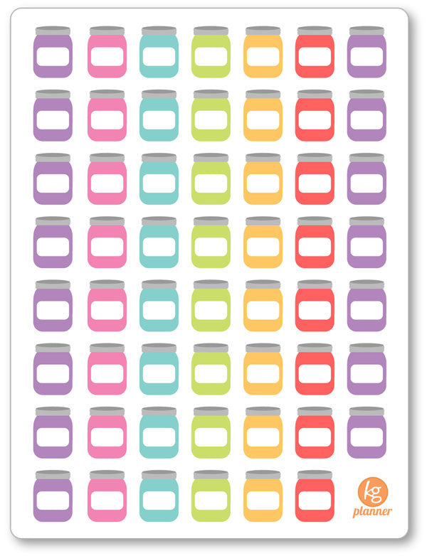 Blank Savings Jar Rainbow PDF PRINTABLE Planner Stickers - Planner Penny