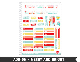 Add-On • Merry and Bright Planner Stickers - Planner Penny