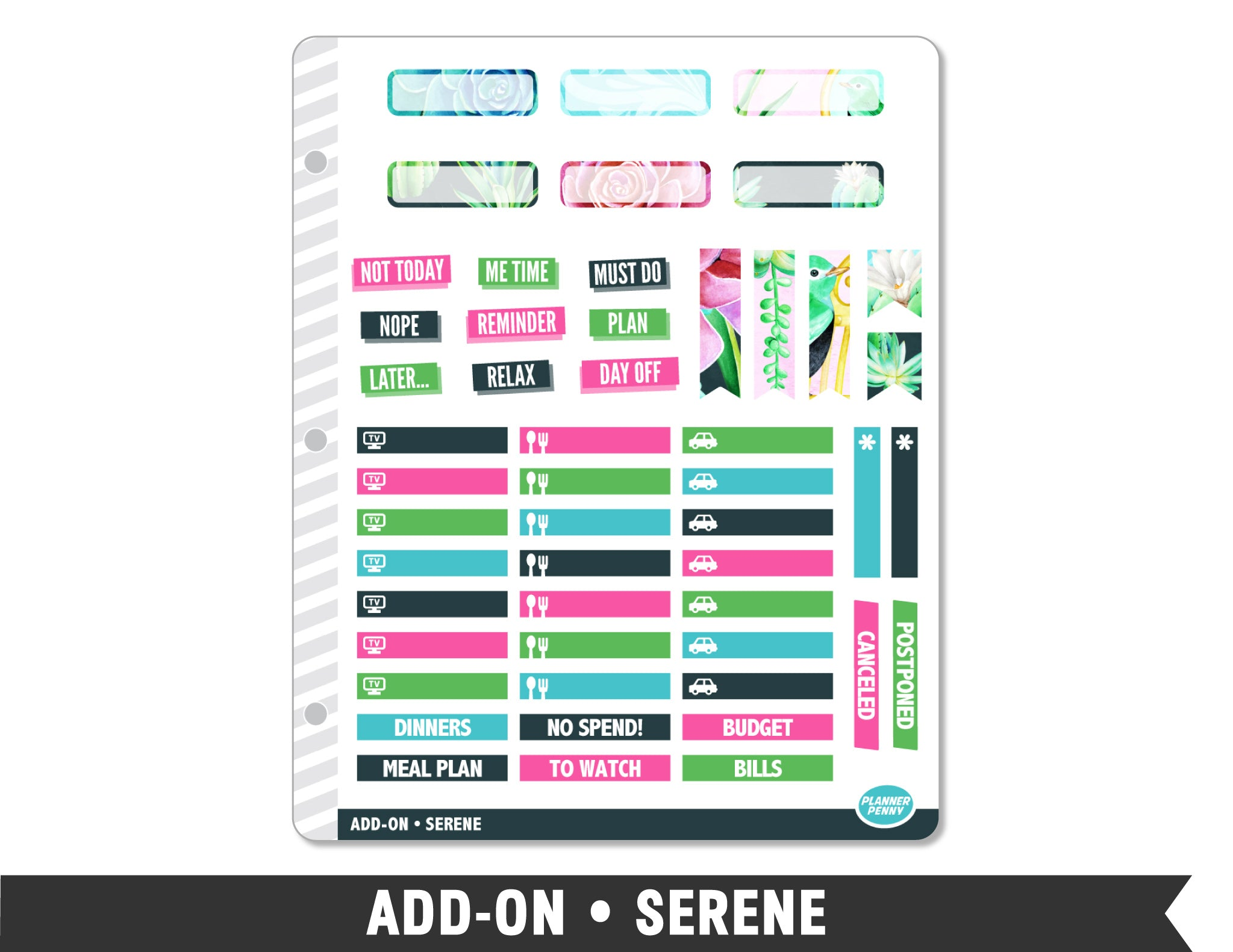 Add-On • Serene Planner Stickers - Planner Penny