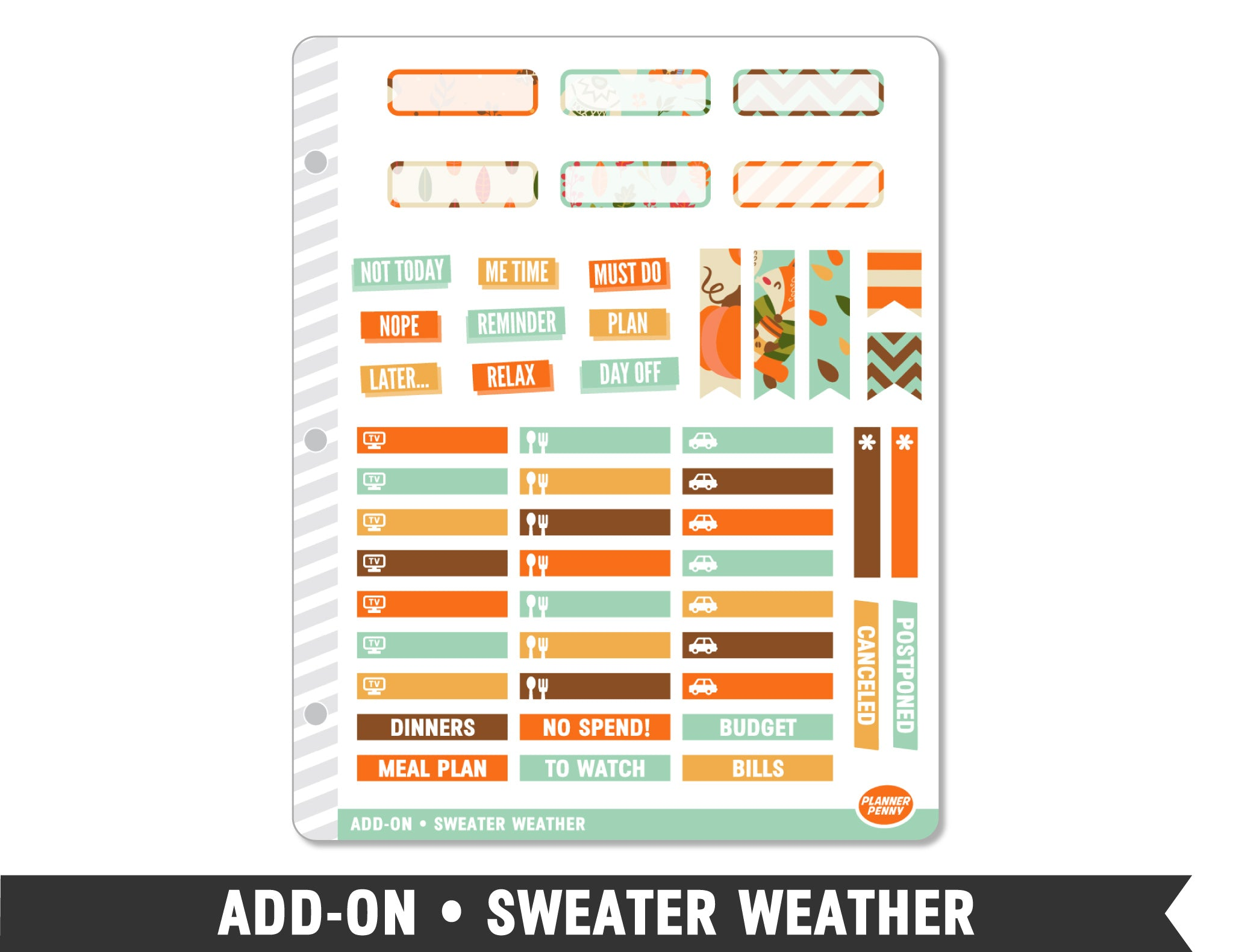 Add-On • Sweater Weather Planner Stickers - Planner Penny