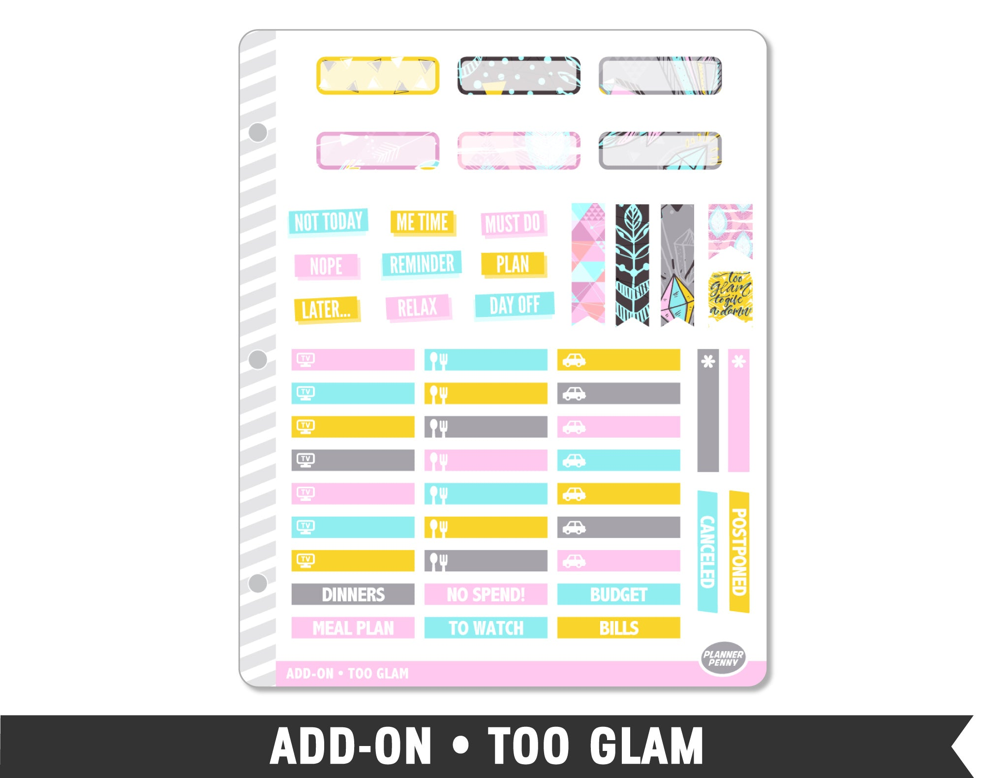 Add-On • Too Glam Planner Stickers - Planner Penny
