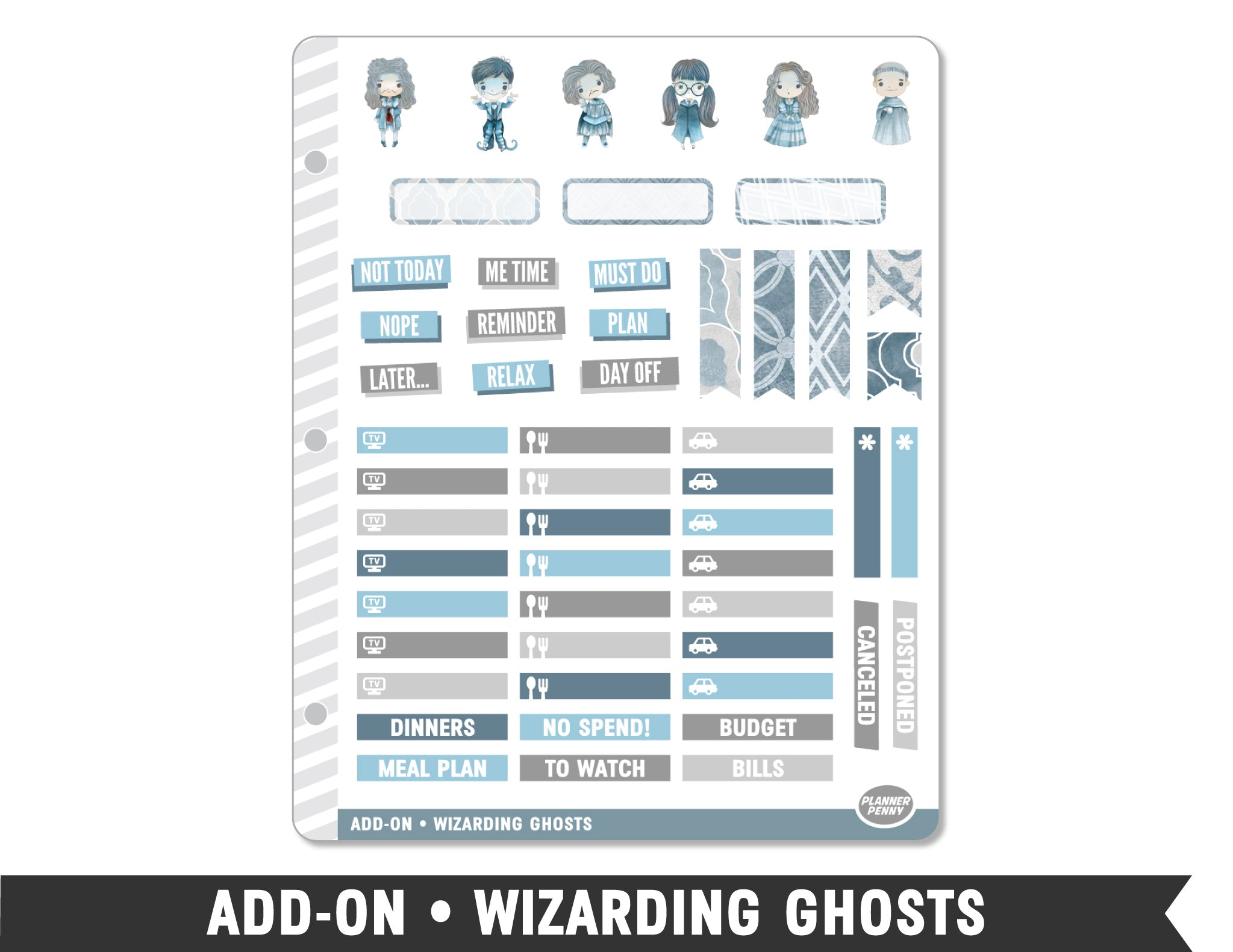 Add-On • Wizarding Ghosts Planner Stickers - Planner Penny
