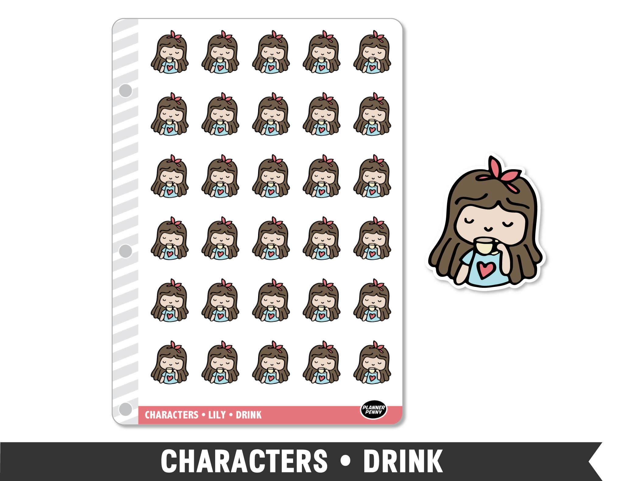 Characters • Drink Planner Stickers - Planner Penny