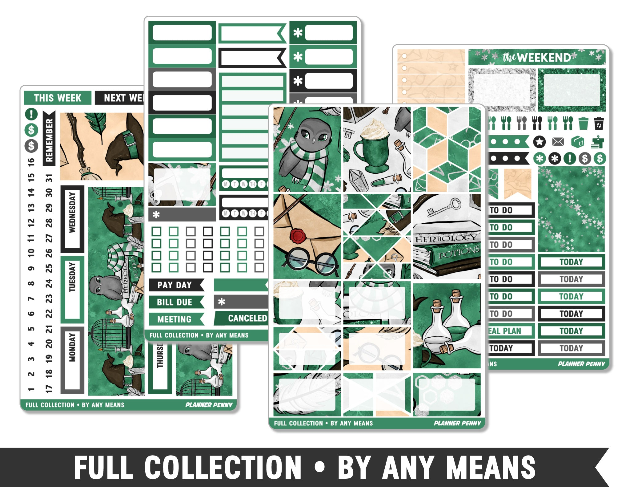 Full Collection • By Any Means • Weekly Spread Planner Stickers - Planner Penny