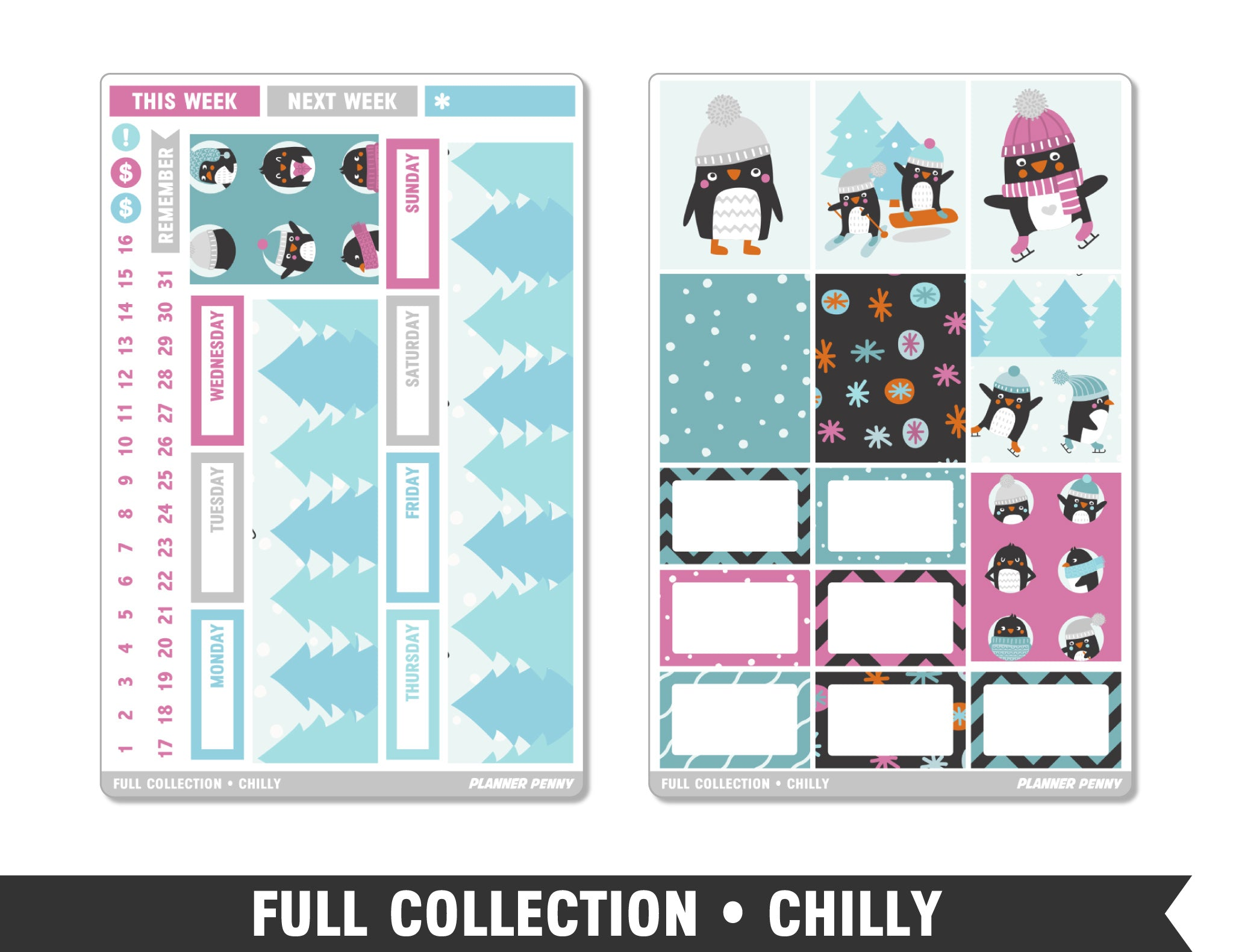 Full Collection • Chilly • Weekly Spread Planner Stickers - Planner Penny