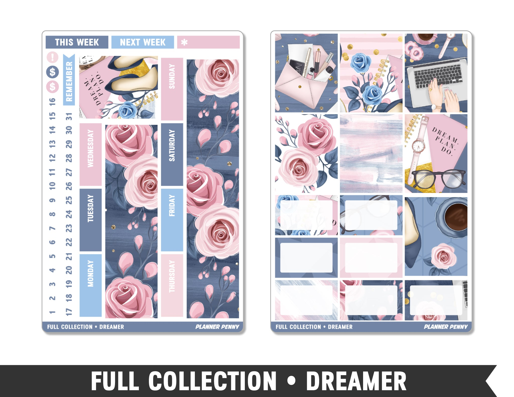 Full Collection • Dreamer • Weekly Spread Planner Stickers - Planner Penny