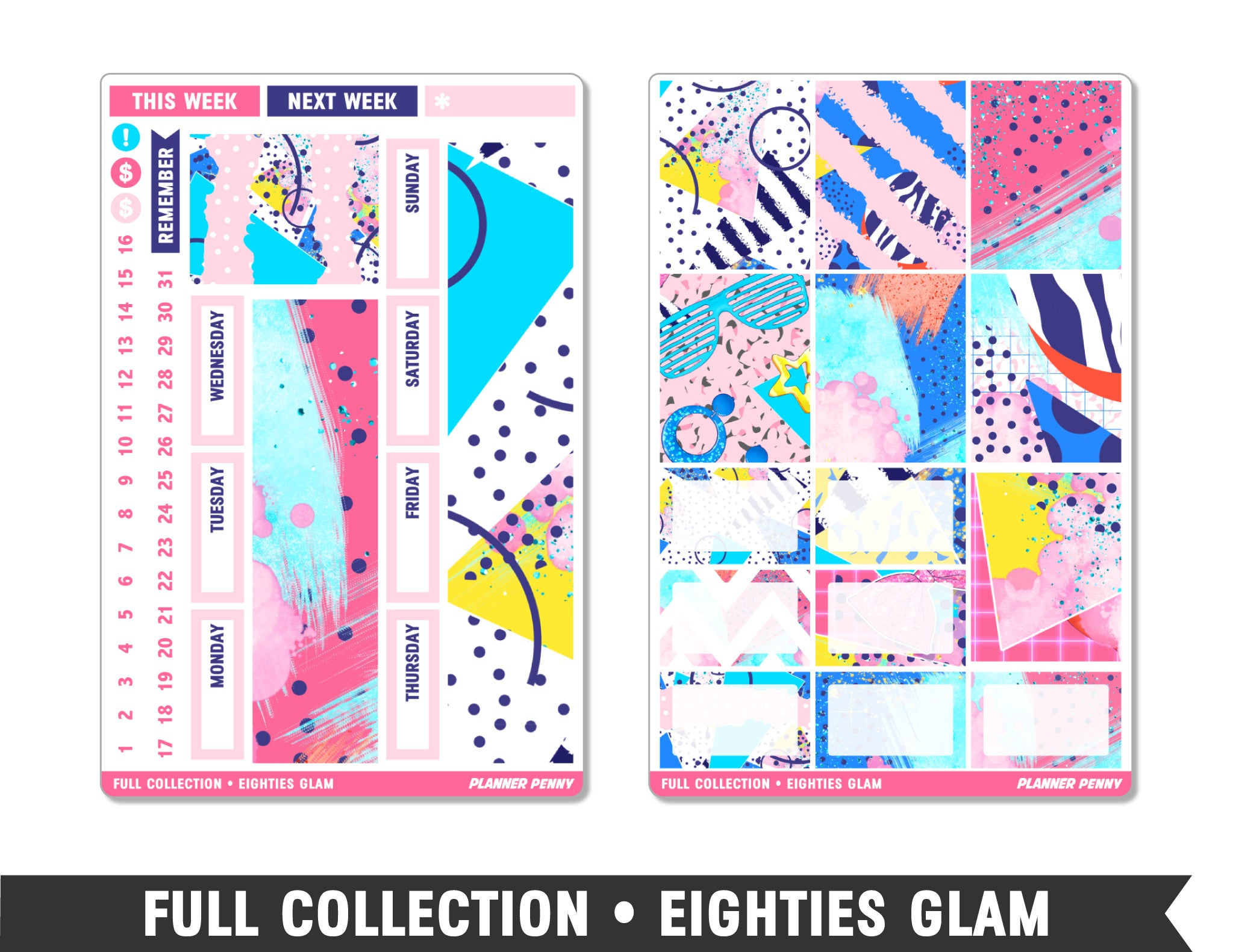 Full Collection • Eighties Glam • Weekly Spread Planner Stickers - Planner Penny