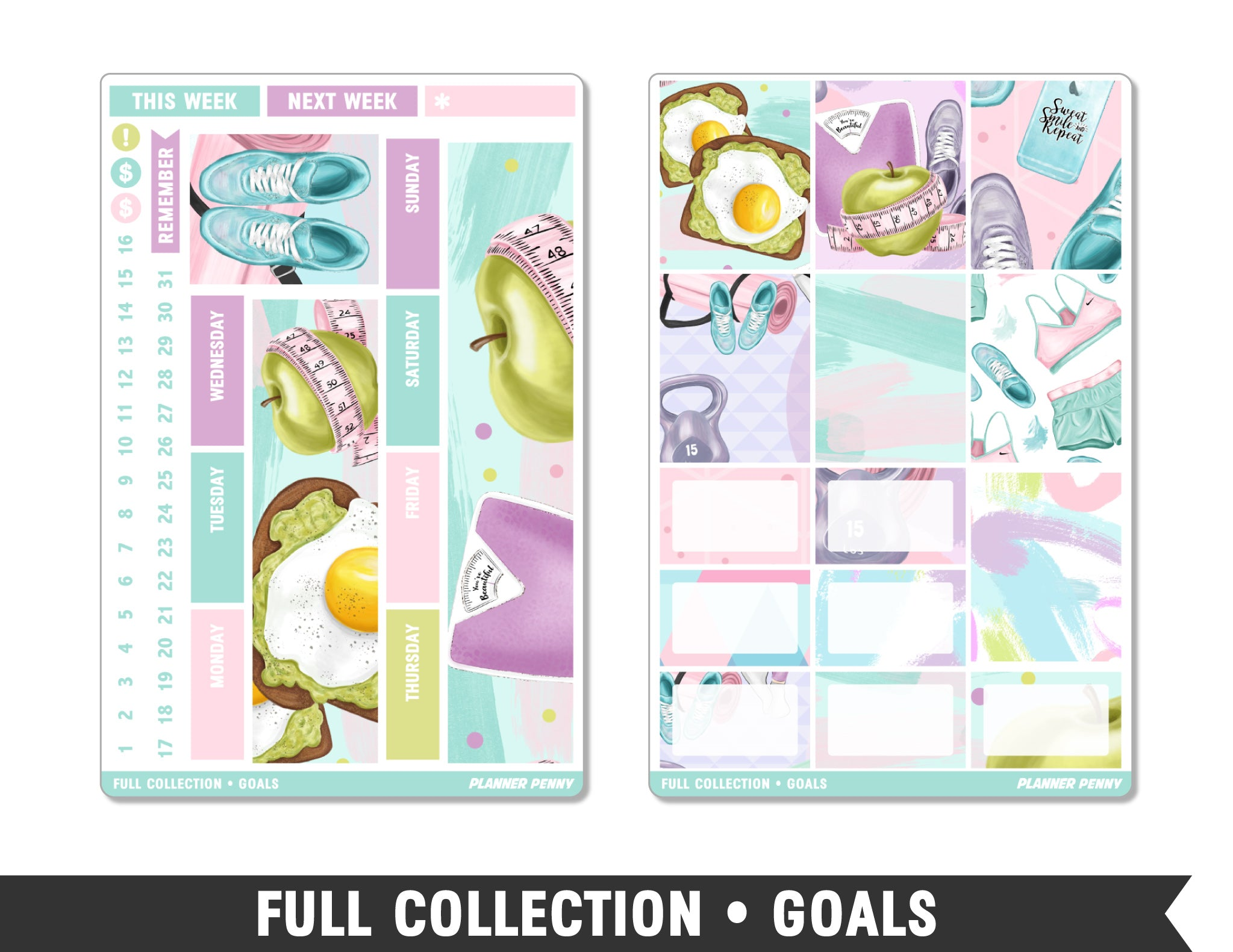 Full Collection • Goals • Weekly Spread Planner Stickers - Planner Penny