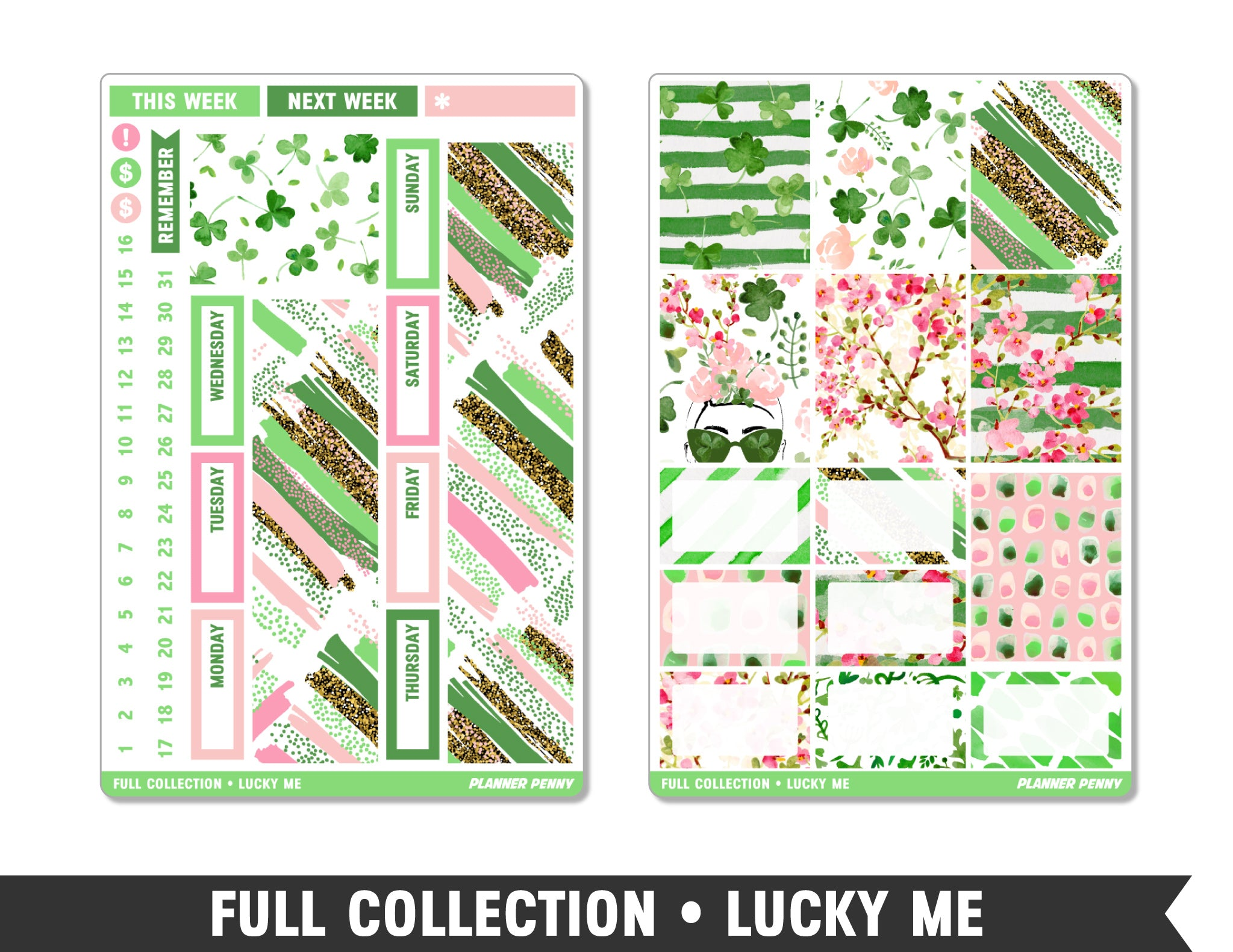 Full Collection • Lucky Me • Weekly Spread Planner Stickers - Planner Penny