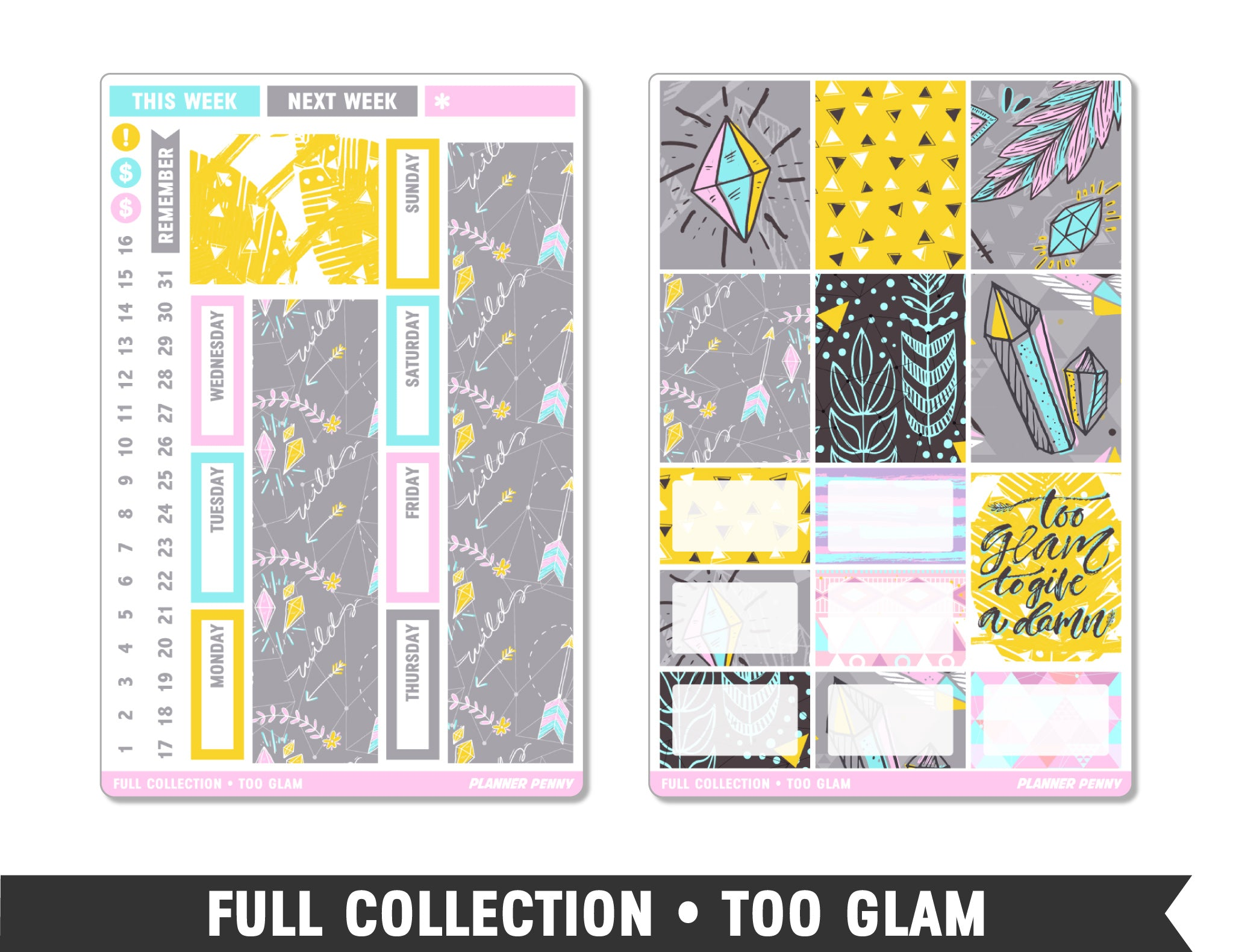 Full Collection • Too Glam • Weekly Spread Planner Stickers - Planner Penny