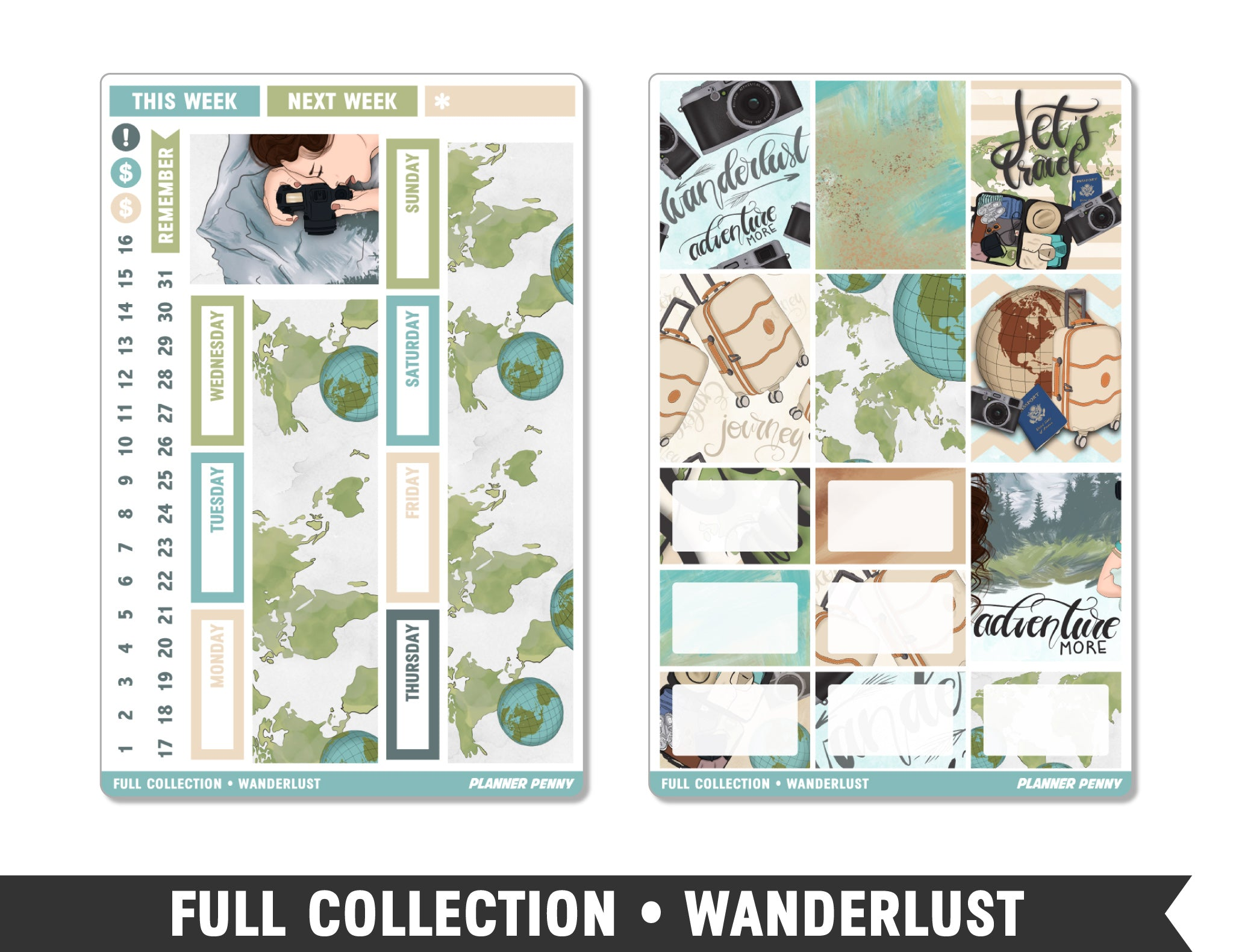 Full Collection • Wanderlust • Weekly Spread Planner Stickers - Planner Penny