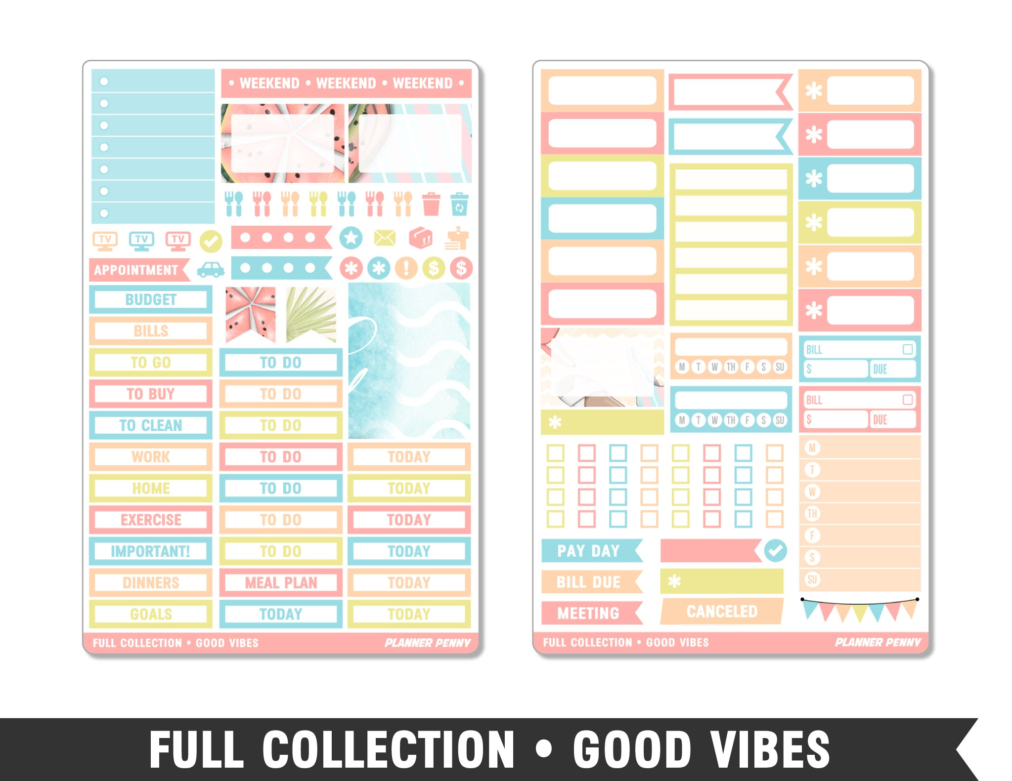 Full Collection • Good Vibes • Weekly Spread Planner Stickers - Planner Penny