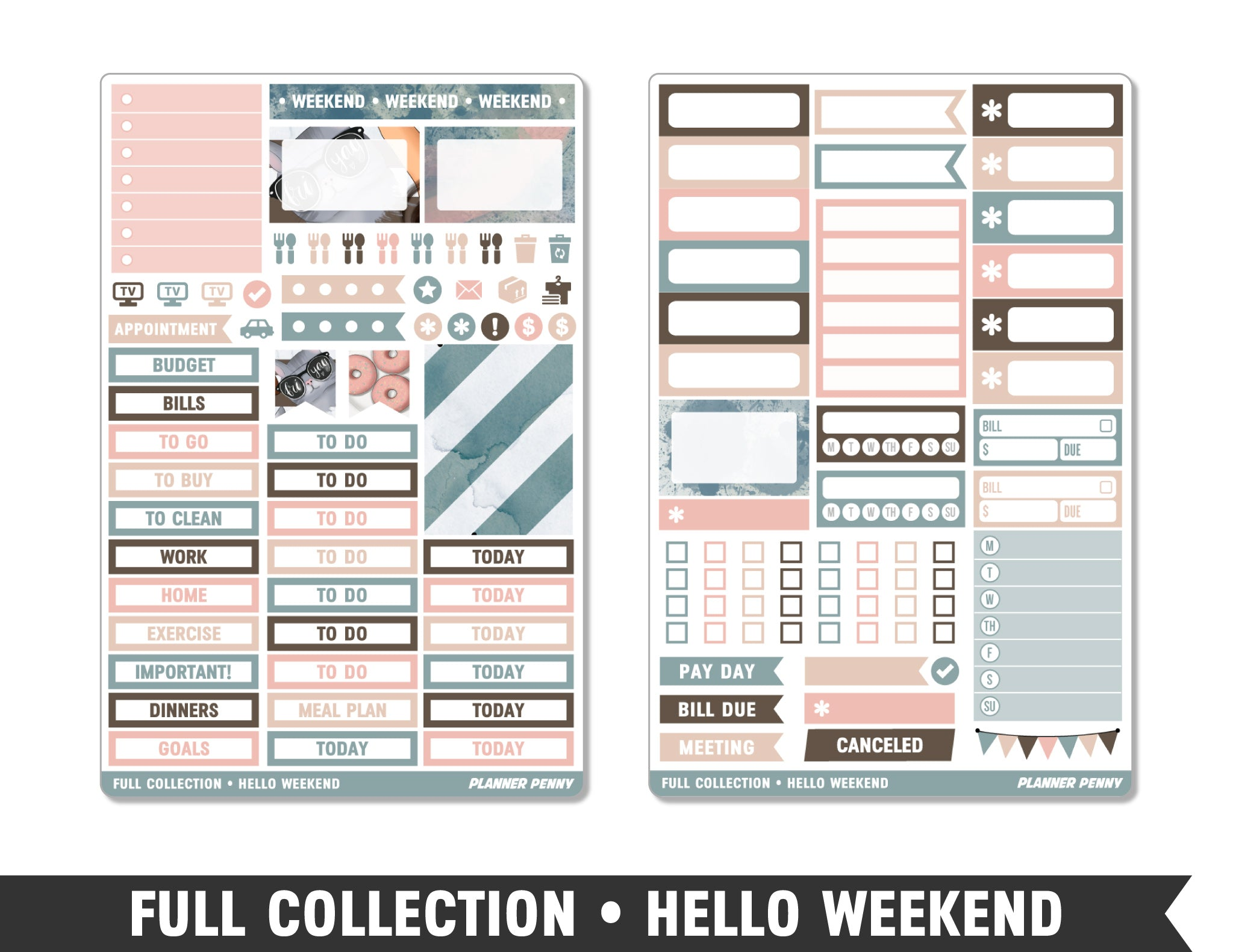 Full Collection • Hello Weekend • Weekly Spread Planner Stickers - Planner Penny