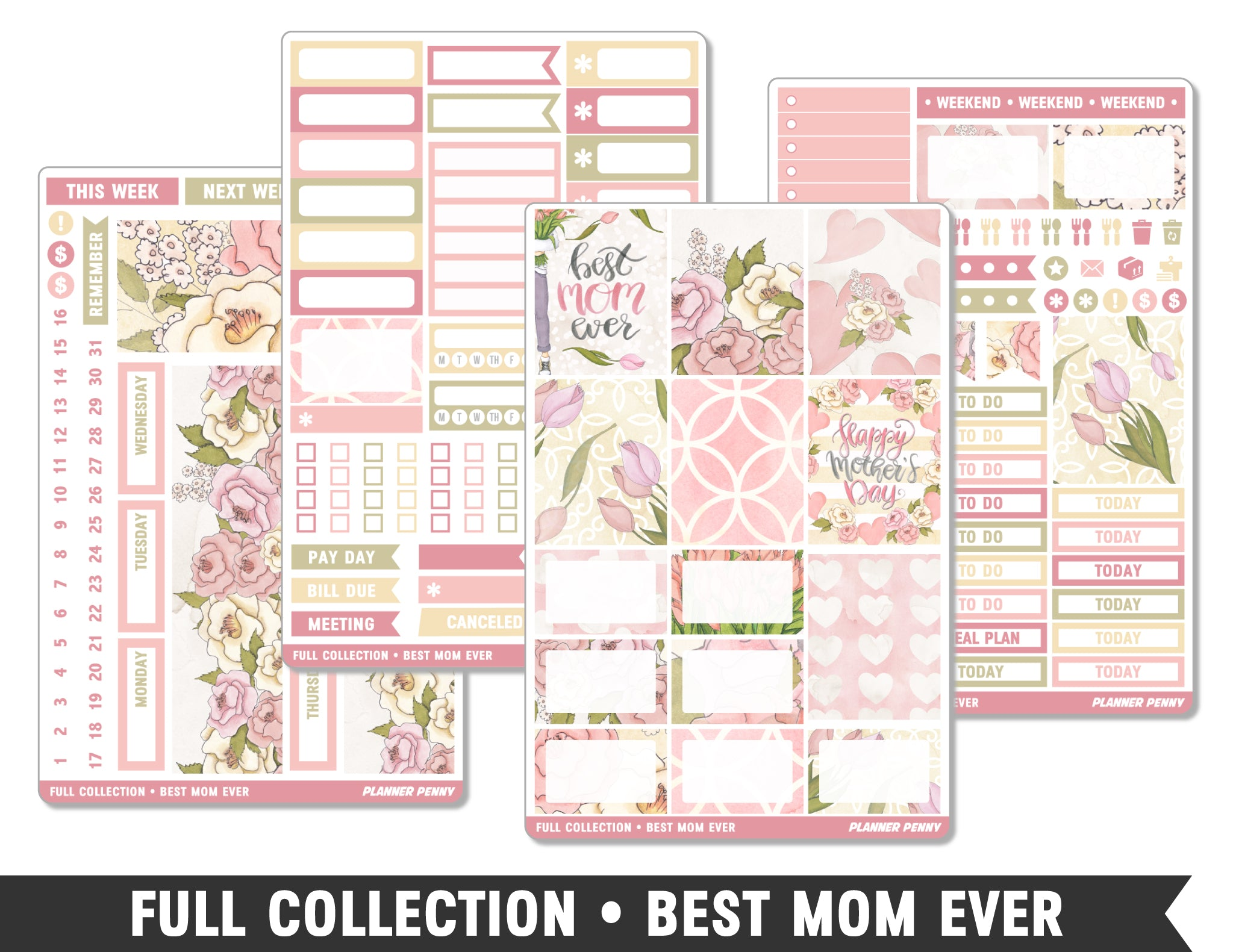 Full Collection • Best Mom Ever • Weekly Spread Planner Stickers - Planner Penny