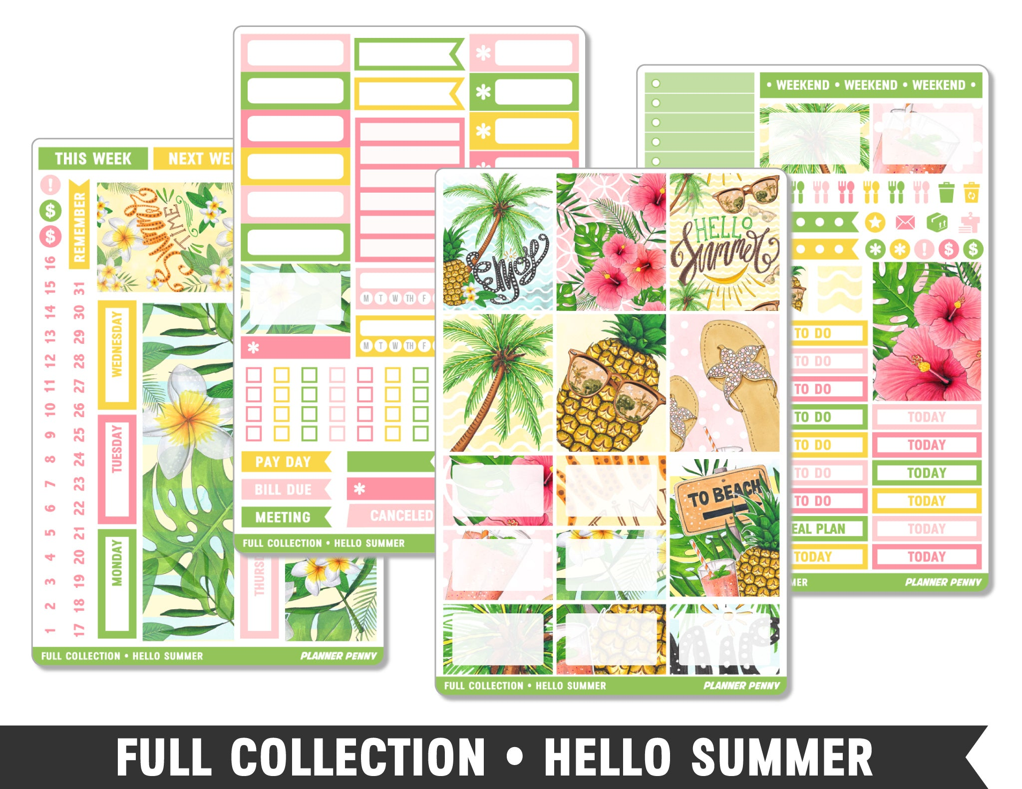 Full Collection • Hello Summer • Weekly Spread Planner Stickers - Planner Penny
