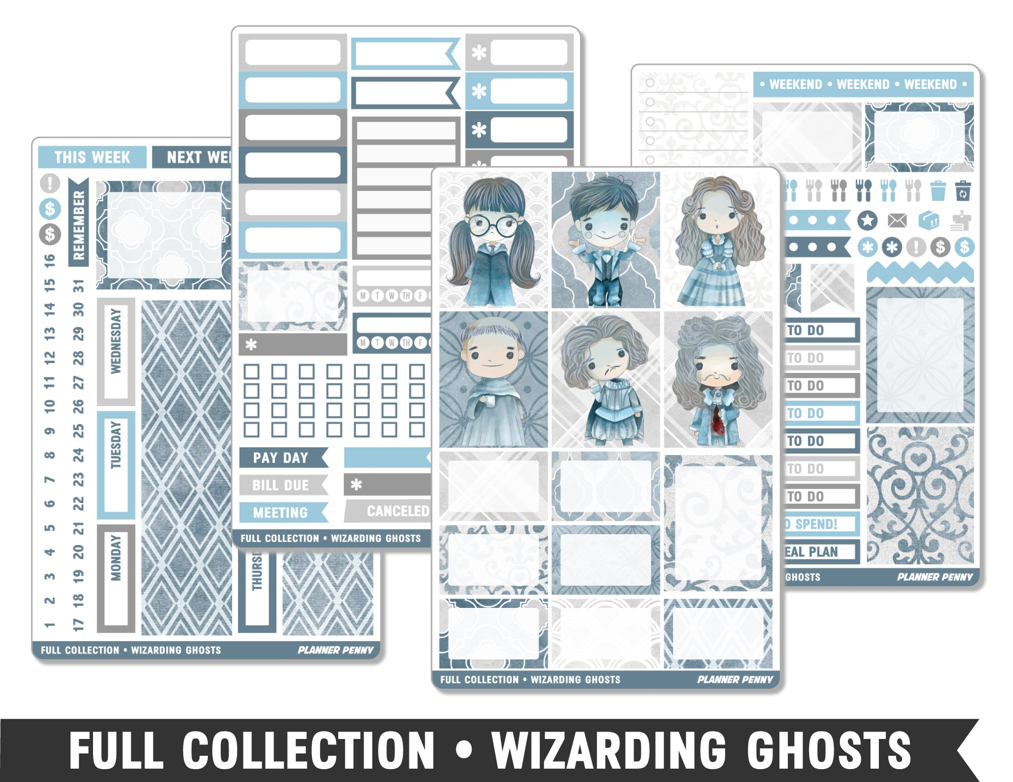 Full Collection • Wizarding Ghosts • Weekly Spread Planner Stickers - Planner Penny
